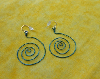 Blue spiral wired Earrings