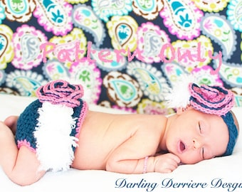 PDF Instant Download Feather Vintage Flower Headband And Diaper Cover Crochet PATTERN