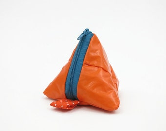 Orange recycled tampon bag, ecofriendly triangle bag, splash proof zipper pouch, coin purse, headphone case, gift for her, gift for him