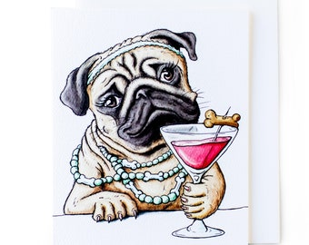 Martini Pug Cards w/Envelopes // All Occasion // 8-Pack