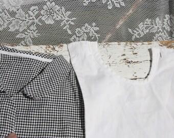 Vintage Checkered Collar * + White faith/retro style/black and white diamond/retro/years 50/Old fashion/Grandma's clothing/theatrical clothing
