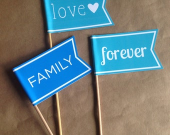 Photo Booth Prop / Wedding Flags / Photo Props / Mr and Mrs Flags / Flags on Sticks / Banners / Pennant on Stick / Photo Booth Prop / Favor