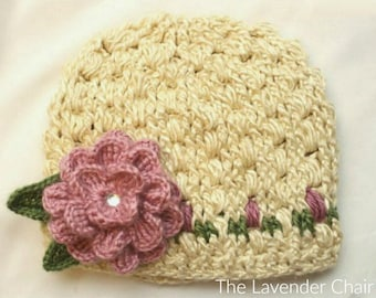 Rose Garden Beanie Crochet Pattern *PDF DOWNLOAD ONLY* Instant Download