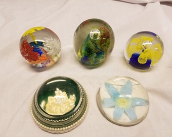 lot of 5 mixed glass paperweights