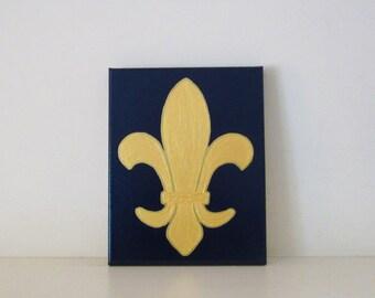FLEUR De LIS - REDUCED - Gold Fleur De Lis Wall Art - Navy Fleur De Lis Wall Hanging - St. Louis Fleur De Lis - New Orleans Fleur De Lis