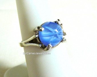 Midi Sterling Silver Ring Jewelry Blue Star Cabochon Stone SylCameoJewelsStore