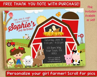 Girl Farm Birthday Invitation, barnyard invitation