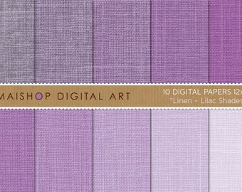 Digital Paper Linen 'Lilac Shades' High Resolution Printable Sheets for Backgrounds, Digital Scrapbooking, Photo Books...