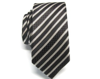 Mens Tie. Skinny Ties. Brown Ivory Black Stripes Skinny Necktie