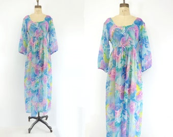 60s Vintage Peignoir Psychedelic Robe Pastel Floral Nighty Monet Floral Nighty Watercolor Peignoir Blue Pink Loungewear 1960s Peignoir m