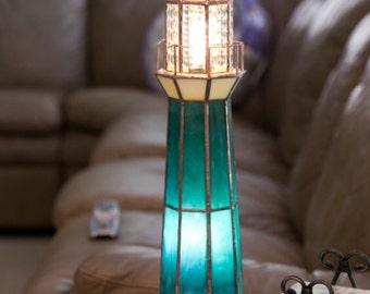 Green Stain Glass Lighthouse Lamp