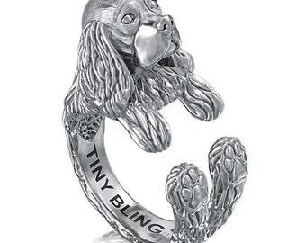 COCKER SPANIEL Breed Jewelry Handmade. 925 Sterling Silver Cuddle Ring. Great for all the Dog, Puppy, and Pet Lovers