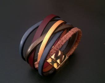 At the fireplace, multi-links, magnetic clasp Leather Bracelet