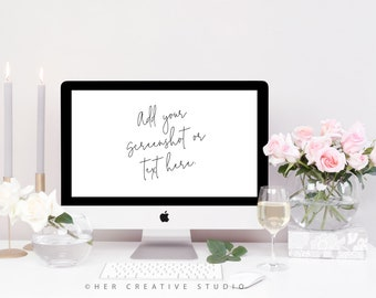Styled Stock Photography | Desktop Mockup| Roses with Grey Candles and Wine | Styled Photography | Digital Image
