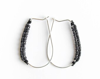 Root earrings - Hoop sterling silver earrings with leather wrap