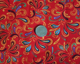 Gorgeous Red with Multi-colored Accented Cotton Print - 1 yd or more