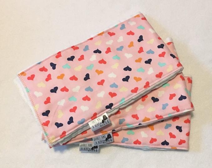 Set of 3 Heart Burp Cloths