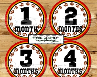 Football Monthly Baby Stickers You choose team CUSTOM Monthly milestone sticker Baby Monthly stickers Baby boy Month Stickers sports