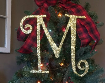 "Decorative 12"" Gold Monogram Christmas Tree Topper, Letter Wreath, Initial, Wedding Decor, Holiday Decor, Front Door Letter,"