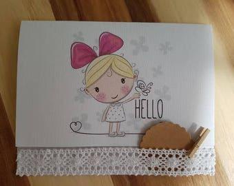 Welcom baby girl Handmade Baby Girl Card