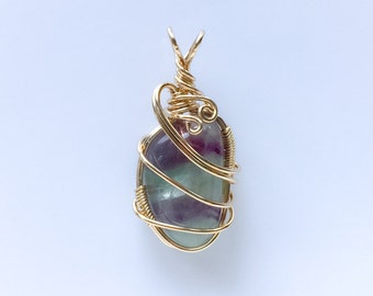 Fluorite 14KT Gold Filled Wire Wrapped Pendant,  Fluorite crystal jewelry,  Fluorite Pendant