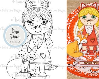 Forest Friends, Digital Stamps, Baby Fox Clipart, Girl Clipart, Colouring Page, Papercraft, Printable, Woodland Fox, PDF Fox, Digi Stamps