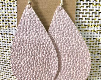 Light Pearl Pink Faux Leather Earrings