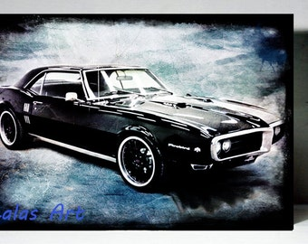 Vintage Retro Style Art Old-timer Firebird 1968-69 American car Painting Home décor Wall Art Mix media Wall Hanging