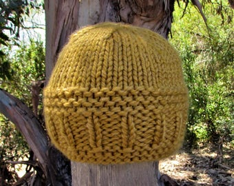 Adult  Hand Knit Beanie; Goldenrod; Acrylic/Wool Blend Yarn; Hiking/Camping Beanie; Autumn or Winter Hat; Ships Free in US; Seamless Hat