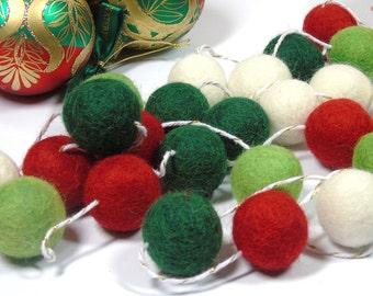 Felt Ball Garland, 30 balls for 2meters(7ft), Christmas decoration, Christmas SALE