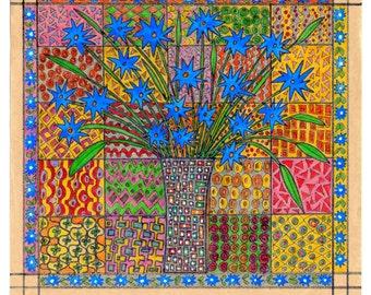 Handmade Original Drawing  Blue Flower --Home decor---Spring---Home decor Valentine day