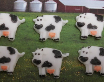 Edible Fondant Cows-Set of 12-Cake/Cupcake Toppers-Farm Animals-Cake Decorations