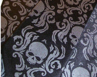 RokGear Damask Skull Mens necktie, black and black pearl