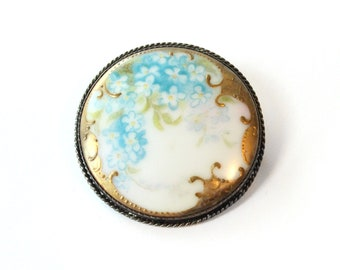 Early 20th-Century Hand-Painted Porcelain Medallion Brooch Pin