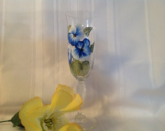 Champagne flute//true blue and white// hand painted//birthday//gifts//bridal shower//house warming//Christmas//wine glasses//
