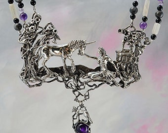 Unicorn and Maiden Fantasy Jewelry Necklace in Sterling Silver with Semi-Precious Beads