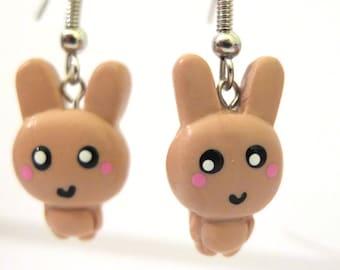 Kawaii Brown Bunny Earrings