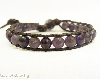 Amethyst wrap bracelet on brown polyester cord, single wrap bracelet, purple stone