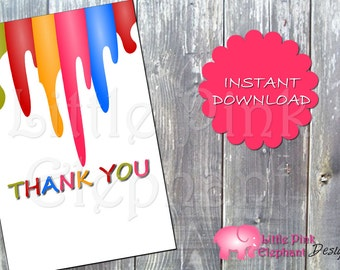 Art party Thank you card paint printable