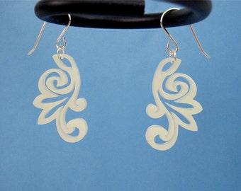 Korean Flower Earrings - Honeysuckle Vine Ivory, Korean Modern Earrings, Asian Flower Earrings, Traditional Japanese Earrings, Wedding Gift