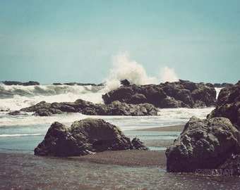 Ocean art, tropical decor, Costa Rica photograph, ocean photography, blue, beach art, retro photography - Jaco Beach