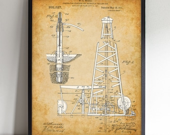 Spindletop Oil Drilling Rig - Printable Art - Great Gift for People in the Oil / Petroleum Business or Office Decor - Instant Download