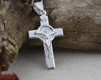 Silver St Benedict Crucifix, St Benedict Cross Necklace. Saint Benedict Cross. Sterling Silver St Benedict, Solid Saint Benedict Cross