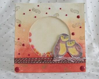 Handmade card, Birthday card, Shaker card, owls, Shaker, Funny card, anniversary card, engagement card, funny anniversary card