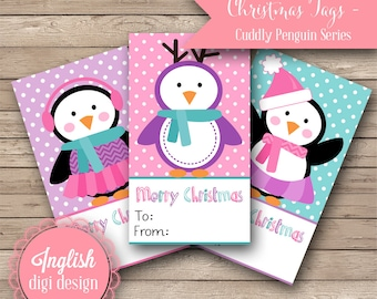 Printable Penguin Christmas Tags - Cuddly Penguins in Pink, Teal and Purple- INSTANT DOWNLOAD