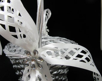 Basket Flower Girl Vintage Silver Woven White Lattice Ribbon Bows Crystal Bling Flower Accents Wedding Gift Storage Home Decor Cottage Chic