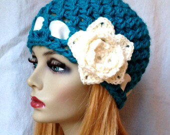 Crochet Womens Hat, Bright Blue Beanie, Flower, Ribbon, Super Comfortable, Chunky, Teens, Winter, Ski Hat, Birthday Gifts for Her,JE777BF4