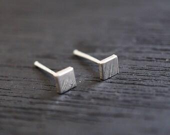 4 mm Square Earrings Tiny Stud Earrings Geometric Earrings Small Earrings Stud Earrings Second hole Earrings Second piecing stud L-SGM018