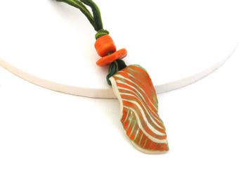 Orange Necklace, Green Silk Fairy Necklace, Handmade Ceramic Beads, Boho Necklace, Pendant Necklace, Ceramics and Pottery, Girlfriend Gift