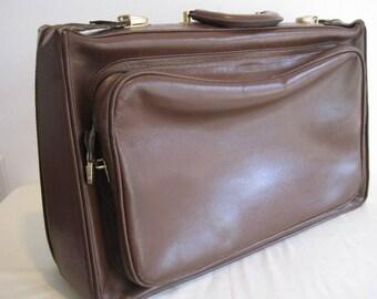 vintage Weekender Travel Bag in Brown Leather